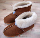 Ladies/Womens REAL SHEEPSKIN Slipper Boot Roll up/Down Cuff Chestnut