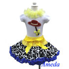 Cowgirl Pettiskirt Halloween White Shirt Tee Jessie Party Dress Costume 1-7Y