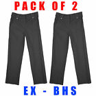 Girls PACK OF 2 School Trousers Two Pocket Uniform Fashion Grey 4 to 13 Years