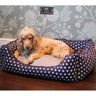 Dog Bed Blue Polka Dot Memory Foam Available in Small, Medium and Large