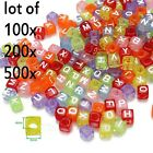 500pcs Acrylic Alphabet Letter  Beads Rainbow Loom Bands Bracelet Craft