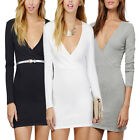 Women Long Sleeve Bodycon Bandage Party Clubwear Evening Prom Gown Mini Dresses
