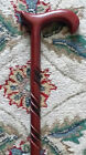 MENS UNIQUE CHERRY FINISH DERBY HANDLE CARVED SPIRAL SCORCHED WOOD WALKING CANE