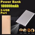 100000mAh Backup Battery Ultra Thin 2 USB FAST Charger Power Bank For Cell Phone