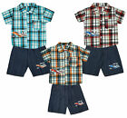 Boys 3 PIECE Jet Plane Take Off Check Shirt Vest Top & Shorts Set 2 to 10 Years