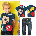 Kids Boys Summer Clothes Cartoon Mickey Shirt / Denim Pants Children Outfits