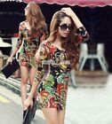 Korean Women Sexy Long Sleeve Floral V-neck Blouse Bodycon Bandage Mini Dress S0