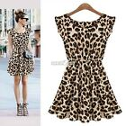 Women Crew Neck Leopard Print Party Tunic Skater Swing Mini Dress Sundress S0BZ