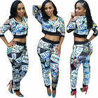 2pcs set women long sleeve crop top long pants long jumpsuits romper playsuits