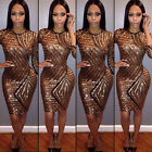 Sequin Bodycon Bandage Women's Short Mini Dress Evening Party Cocktail Clubwear