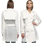 Women Outwear Jacket Patchwork Elegant Long Trench Coat with Belt B20E