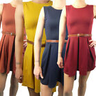 Ladies Skater Dress Sleeveless Womens Tailored Pleated With Belt Party Style
