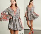 Flowy UMGEE Blue Floral Paisley Long Bell Sleeve Boho Hippie Shift Dress S M L
