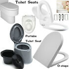 Square Oval D-Shape Family Bathroom White Soft Close Toilet Seat + Fixing Hinges