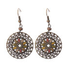 Women Vintage Bohemian Boho Colorful Resin Flower Hollow Round Carved Earrings