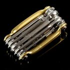 RockBros Bike Multi Functiomn Mini Repair Tool Pocket Folding Tool 10 in 1 Gold