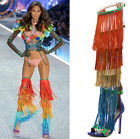 Women Gladiator Rainbow Tassel Over Knee Boots Cut Out Real Leather Sandal Shoes