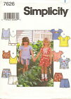 Simplicity 7626 Girls Top & Shorts Sewing Pattern ~ Size 5 6 6X