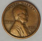 1911 S 1C Lincoln Cent Wheat Penny Very Good +, VG+ (J-11)