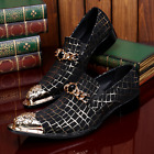 Genuine Leather Mens Metal Pointed Toe Bead Dec Gold Floral Formal Dress Shoes