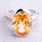 Cocktail Gifts Oval & Round Cut Morganite Gemstone Silver Ring Size 7 Free Ship