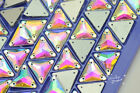 50 pcs wedding custom triangle shape AB crystal glass Faceted Sew On Jewels