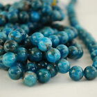 "Grade A Natural Apatite (blue) Gemstone Round Beads - 4, 6, 8, 10mm - 16"" strand"