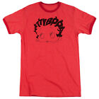 Betty Boop Word Hair Mens Adult Heather Ringer Shirt Red $26.94 USD