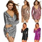 Women Sequin Bodycon Mini Dress Ruched V Neck Long Sleeve Club Party Dress A5F4