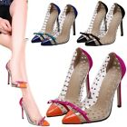 Women's Rivet Transparent Studded Pointed Toe Bowknot Stilettos High Heels Shoes