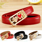 Fashion Women Leather Belt Waistband with Gold Double Heart Automatic Buckle