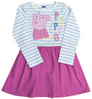 Girls Peppa Pig Stripe Body Long Sleeve Cotton Dress 18 Months to 5 Years
