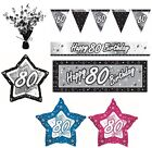 BLACK & SILVER - Age 80 - Happy 80th Birthday PARTY ITEMS Decorations Tableware