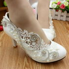 "Wedding shoes 3""/4"" white light ivory lace crystal Bridal low heels pumps size"
