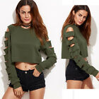 Stylish Womens Long Sleeve Broken Hole O Neck Loose Casual Blouse Tops T-shirt