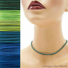 3 mm Suede Lace Necklace or Choker Custom Length pick shade Blue+ leather cord