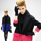 Outerwear wool blend Colorblock  jacket trench coat plus1x-10x(16-52)G409