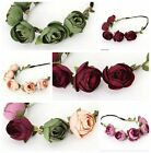 Women's BOHO Style Rose Flower Crown Headband Wedding Floral Garland Hair Band