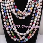 """7x8-8x9mm Natural Freshwater Pearl Beads Freeform Gemstone Fashion Necklace 45"""""""