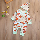 2pcs Toddler Baby's Outfit Bodysuit Romper Tops + Hat Clothes sets 0-18Months