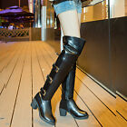 Retro Women's Over Knee Thigh Boots Block Mid Heel Buckle Riding Shoes Plus Size