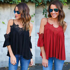 Womens Chiffon Lace Slip Party Off Shoulder Summer Loose T-Shirt Tops Blouse Tee
