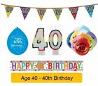 AGE 40 - Happy 40th Birthday Party Banners, Balloons & Decorations