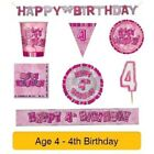 AGE 4 - Happy 4th Birthday PINK GLITZ - Party Balloons, Banners & Decorations