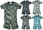 Boys Army Camo Star Motif Badge T-Shirt Top & Shorts Summer Set 3 to 14 Years
