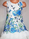 GIRLS BLUE BUTTERFLY GARDEN PRINT LACE CHIFFON SPECIAL OCCASION PARTY DRESS