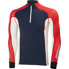 Helly Hansen Warm Freeze Half Zip Mens Base Layer Top - Evening Blue Alert Red
