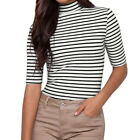 Women Mock Neck Short Sleeves Stripes Slim Fit T-shirt