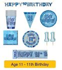 AGE 11 - Happy 11th Birthday BLUE GLITZ - Party Balloons, Banners & Decorations