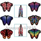 Colorful Butterfly Wing Chiffon Wrap Cape Fairy Costume Shawl Festival Holiday